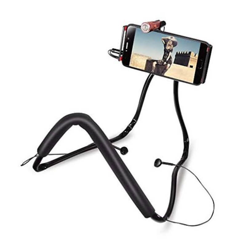 Universal-Neck-Holder-3-in-1-With-Mic-Handfree-For-Vloging