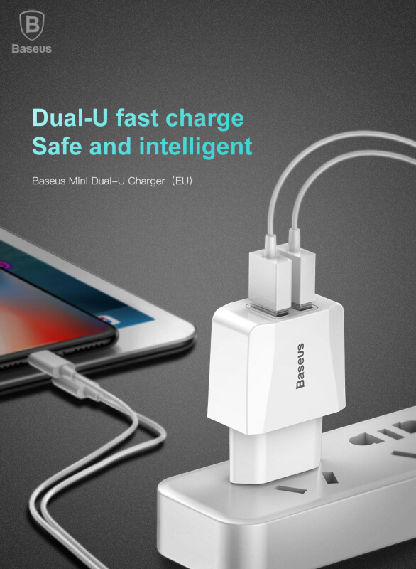 Baseus Charger Mini Dual USB Charger 2.1A Ccall Mn02