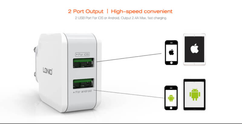 LDNIO A2202 2.4A DUAL USB HOME CHARGER
