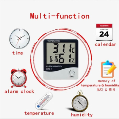 Digital Thermometer Hygrometer Electronic LCD Clock
