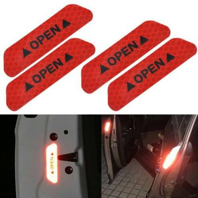 4PCS Super Car Door Open Sticker Reflective
