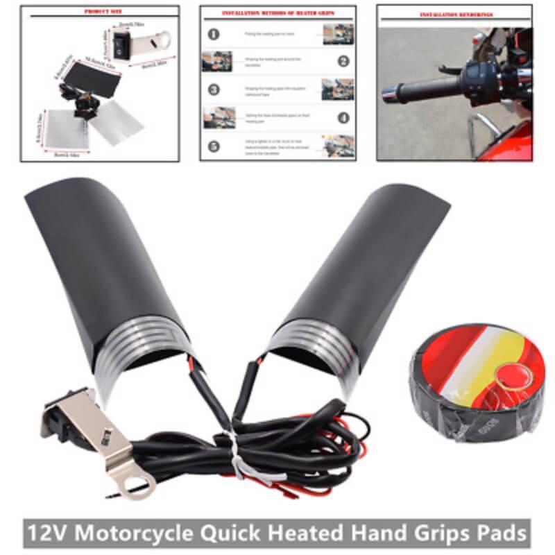 Heated-Handlebar-Grips-Wrap-Universal-Motorcycle-Grip-Kit-Pads-f