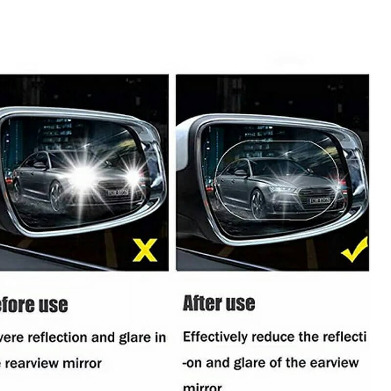 2 Pack Oval Car Rearview Mirror Protective Film Waterproof