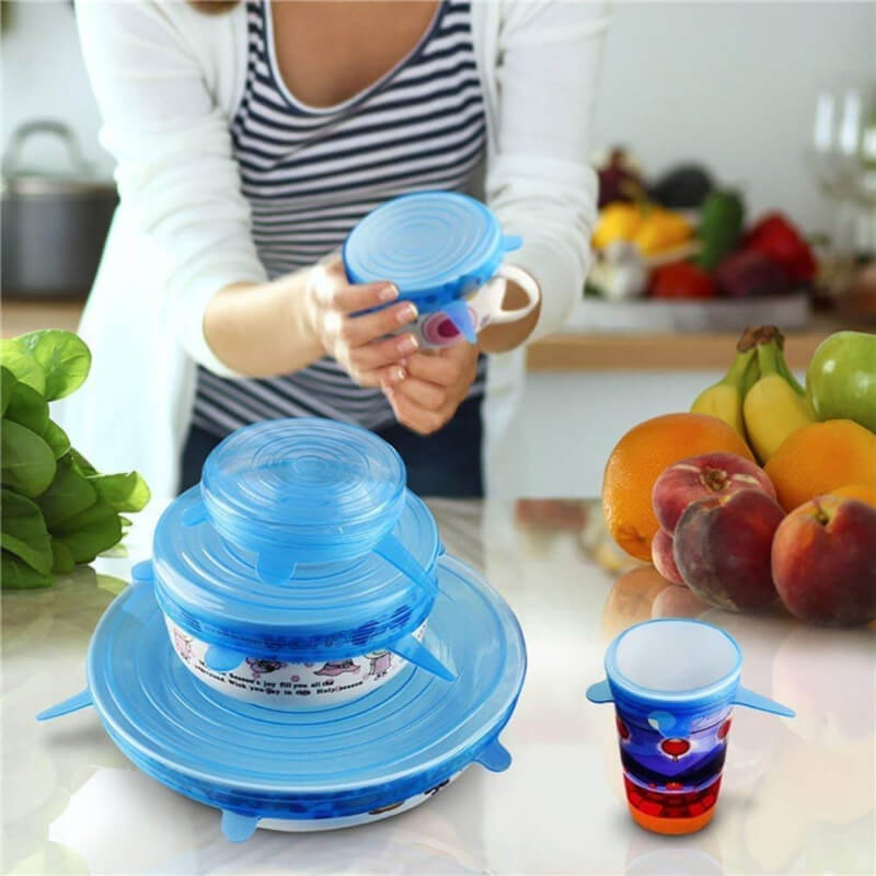 6 Pieces Silicone Covers Lids