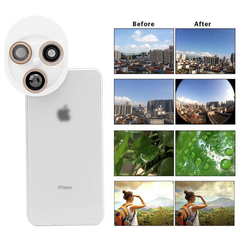 Universal mobile phone camera lens 4 in 1