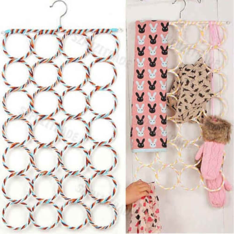28-Rings-Slots-Hole-Scarves-Tie-Holder-Clothes-Organiser-Hook-St