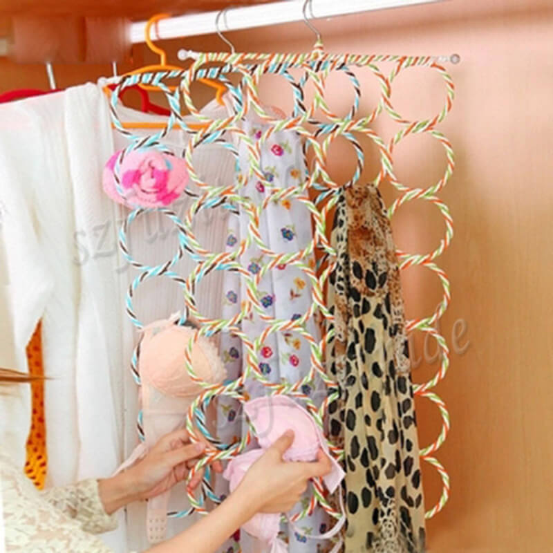 28 Rings Slots Hole Scarves Tie Holder Clothes Organiser