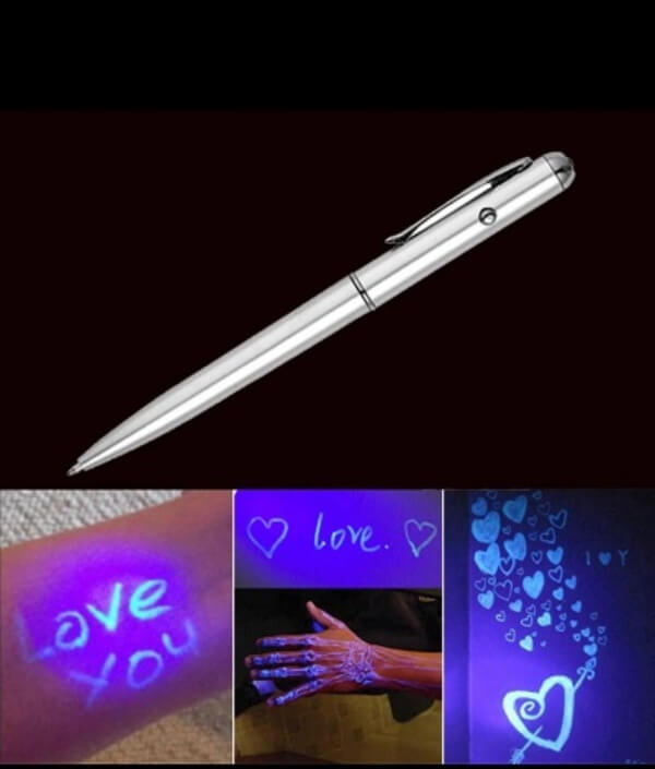 Cute Magic Invisible Ink Ballpoint Pen with LED UV Light Pen