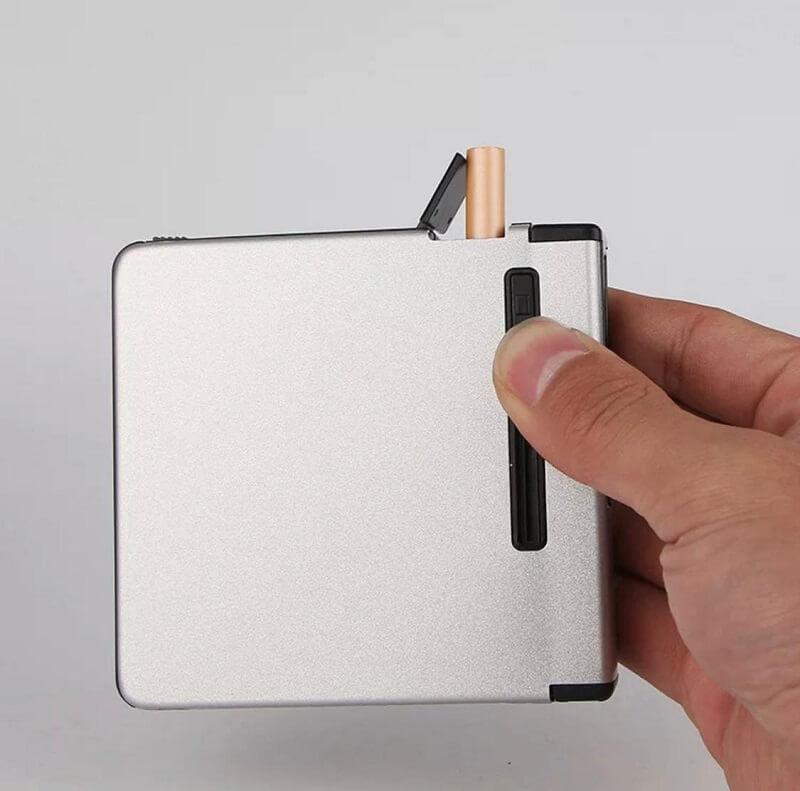 Metal 12 Pcs Cigarette Storage Box With Jet Flame Lighter
