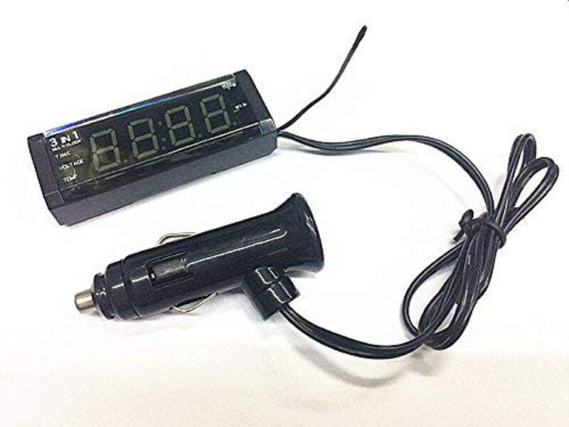 3 in 1 Car Digital Clock With Volt And Amp