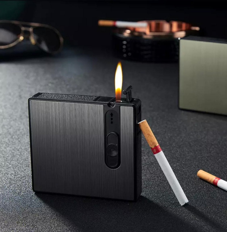 Portable Lighter Push Cigarette Holder Case Tobacco Box