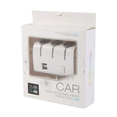 Car Power Adaptador Mechero Triple Con USB