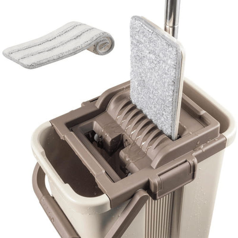Self-Wash and Squeeze Dry Flat Mop & Bucket Kit