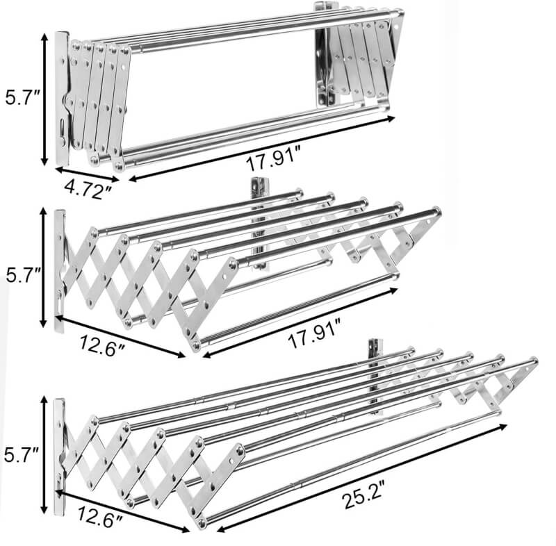 Stainless Steel Space Saver Rack Wall Mounted