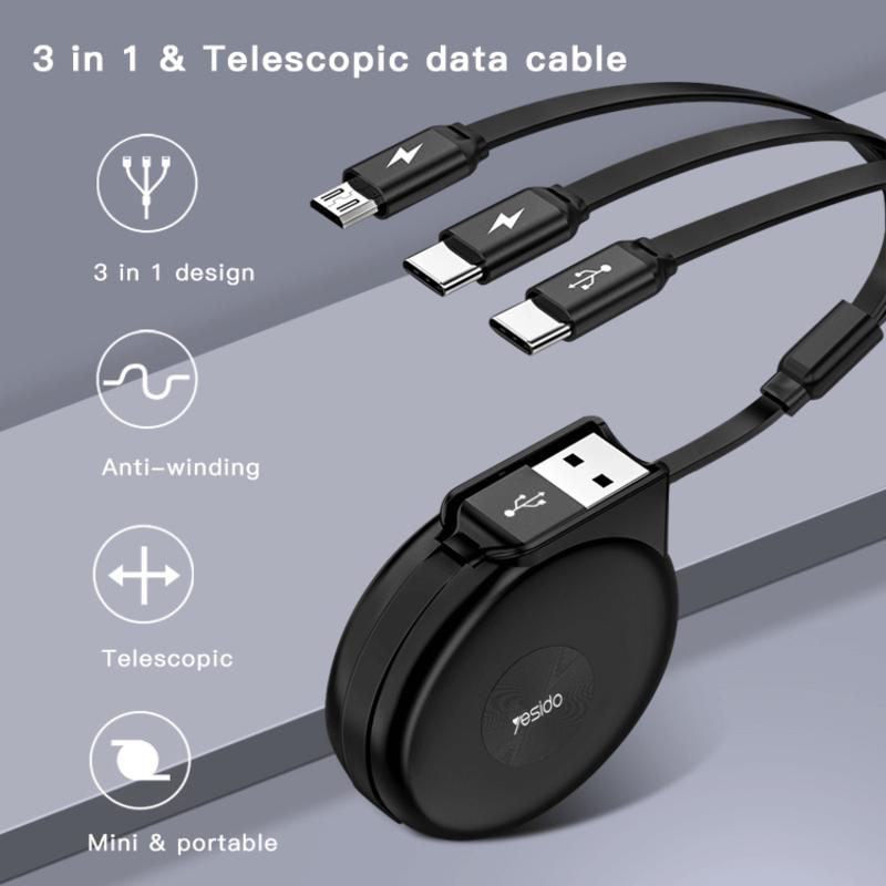 Retractable Multi Cable 3-in-1