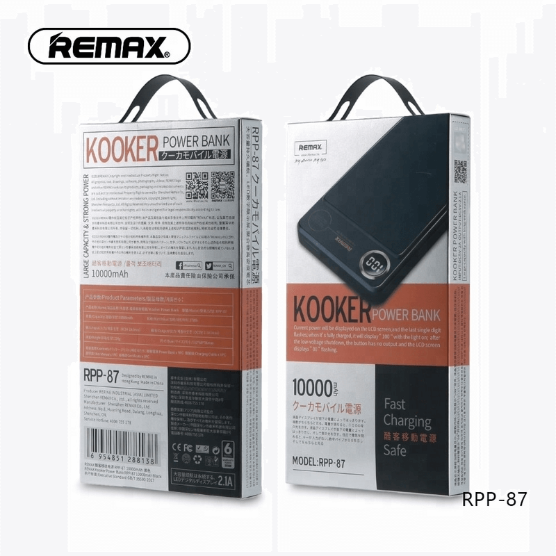 REMAX Kooker RPP-87 Single USB Output 10000mAh Power Bank