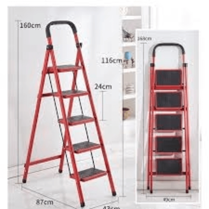 Folding 5-Tier Lightweight Steel Step Ladder with Hand Grip