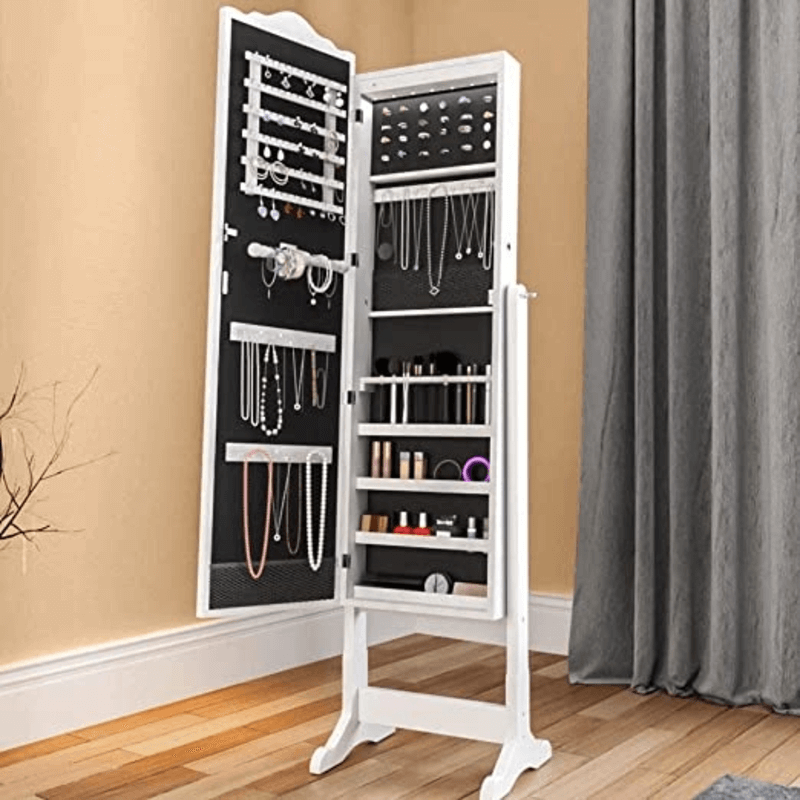 Elegant Standing Coronal Mirror Jewellery Cabinet with Full-Length Mirror