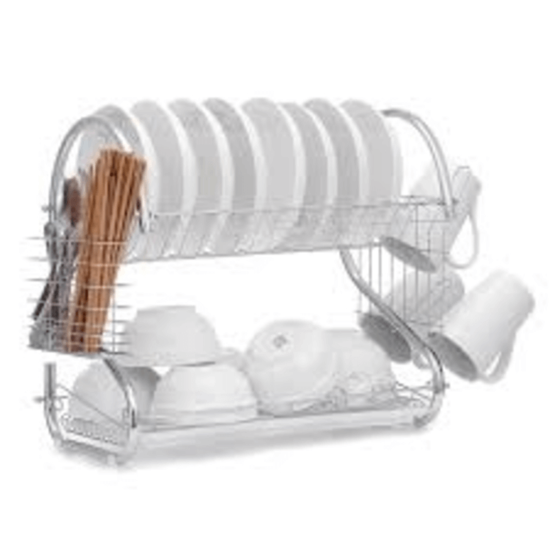 2 Tier Dish & Utensils Drainer with Board