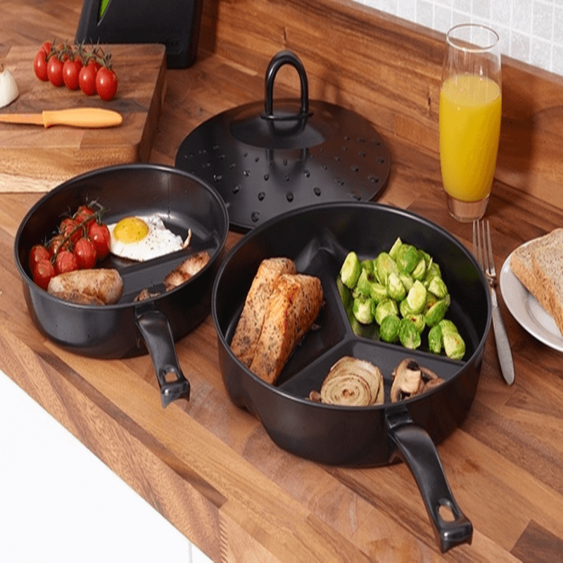 3 in 1 Divided Portion Frying Pan