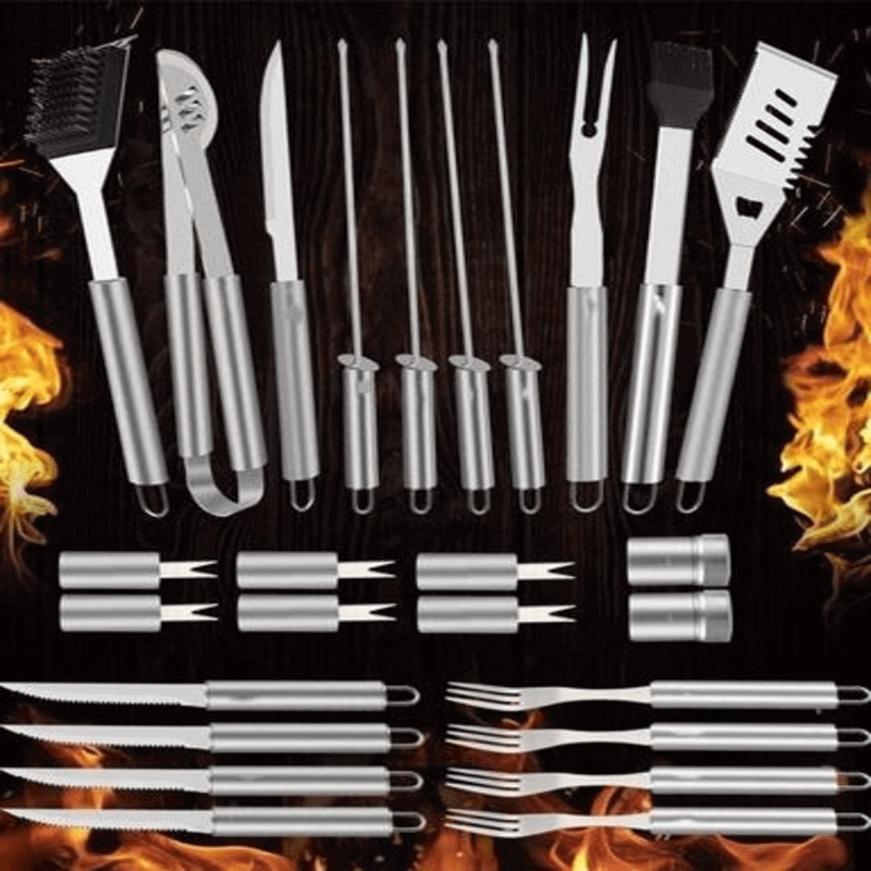 Stainless Steel BBQ Grill Tools Set With 26 Pieces With Aluminium Case
