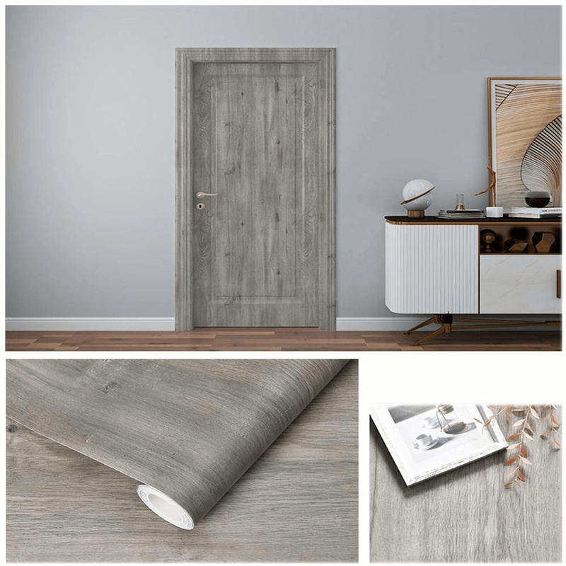 Self Adhesive Furniture Sticker (Grayish Wood)