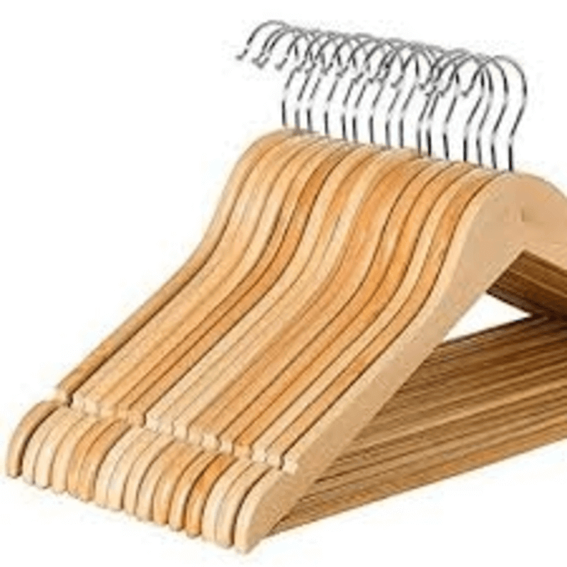 Bamboo Wooden Cloth Hanger ( Pack Of 6 Large )