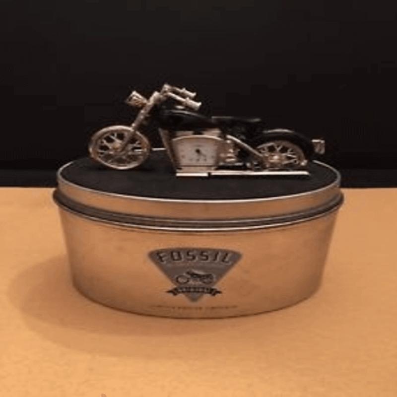 Fossil Brand Antique Harley Davidson Bike Clock- Metal Black