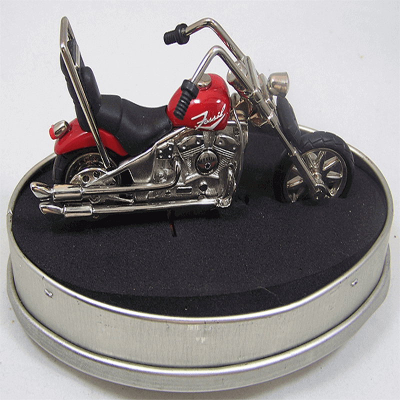 Fossil Brand Antique Harley Davidson Bike Clock- Metal Red