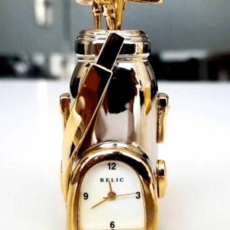Fossil Brand Antique Golf bag Clock - Metal Black