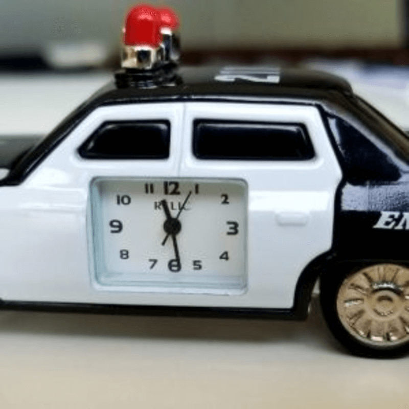 Fossil Brand Antique Police Car Clock – Metal Black