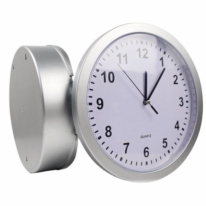 Wall Clock with Hidden Safe (Silver)