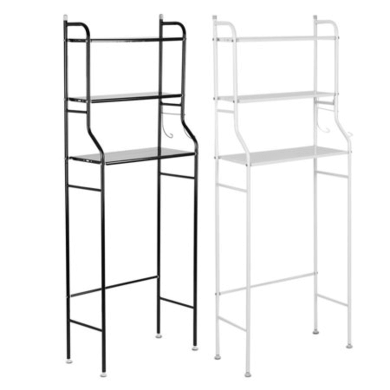 Over The Toilet 3 Shelf Metal Storage Cabinet (Black& White)
