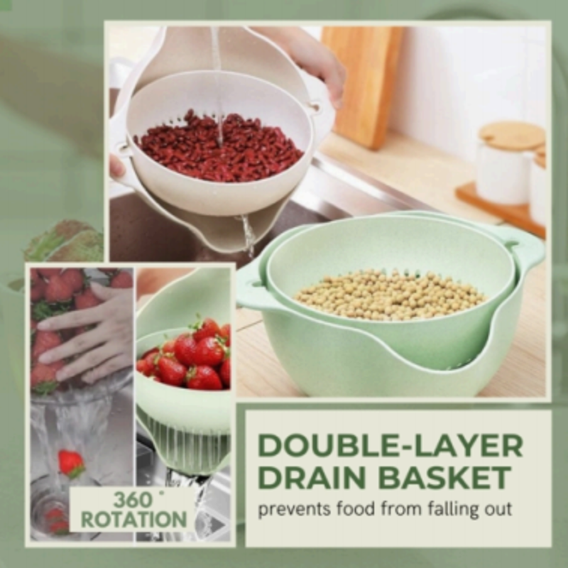 Rotatable Double Layer Drain Basket(Pack of Two)