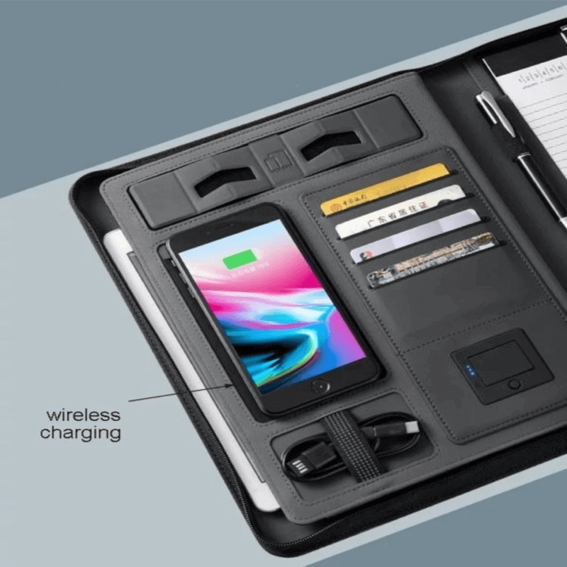 PU leather Business folder a4 multi-function wireless charging with zipper manager
