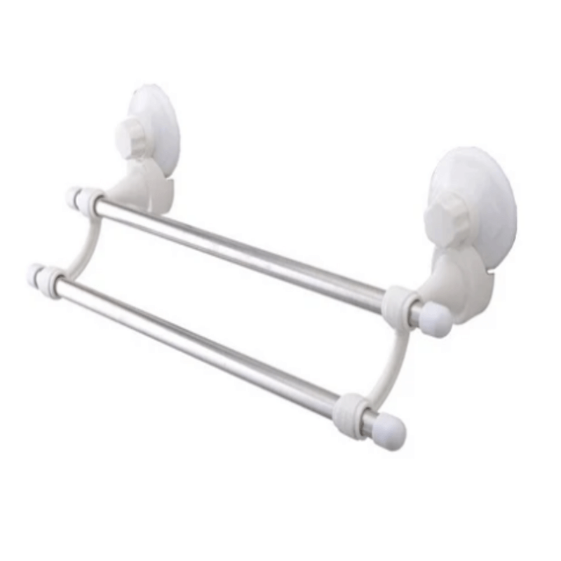 Suction Cup Double Bar Towel Holder - White
