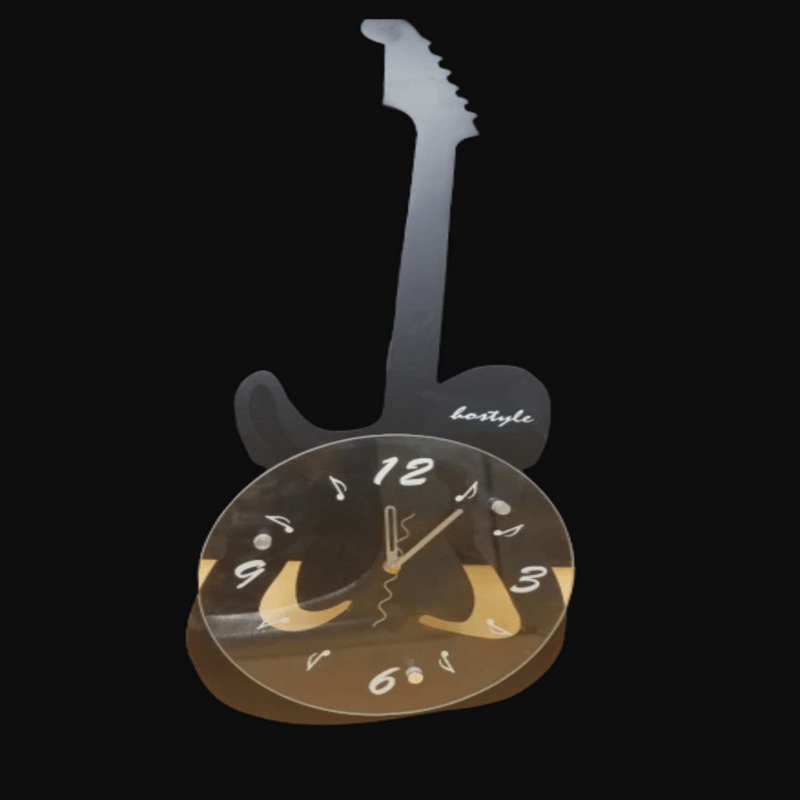 Guitar Shaped Wall Clock Black