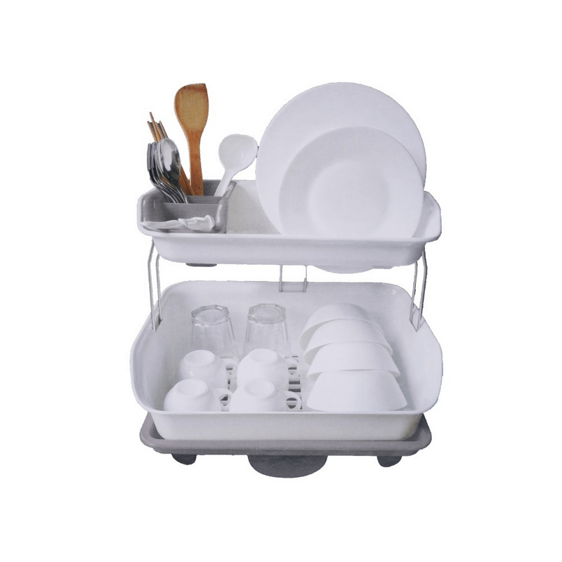 double-tier-dish-drying-rack-with-rotatable-drainer-tray