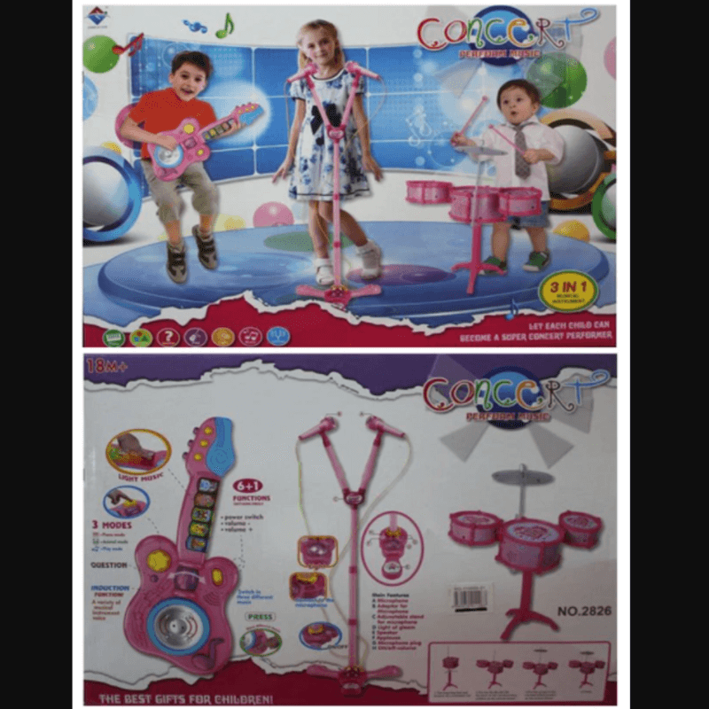 Microphone Set, Guitar & Drum Set - For Kids