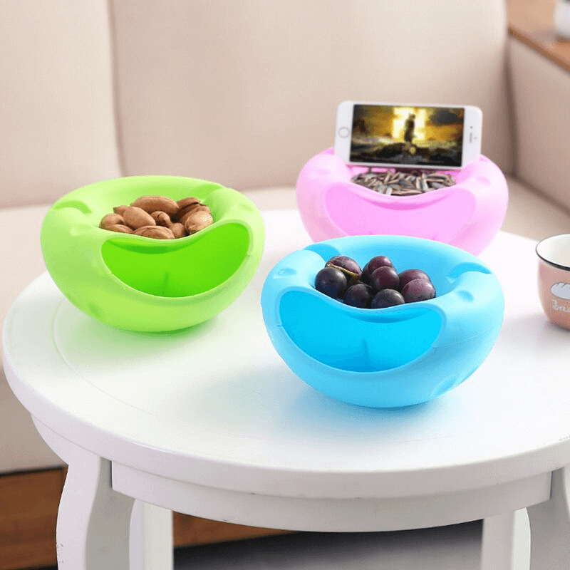Storage Box Double Layer Bowl For Dry Fruits with Mobile Holder