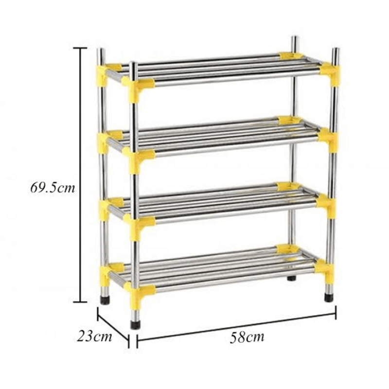 Stainless Steel Simple Fashion 4 Tier Shoe Rack