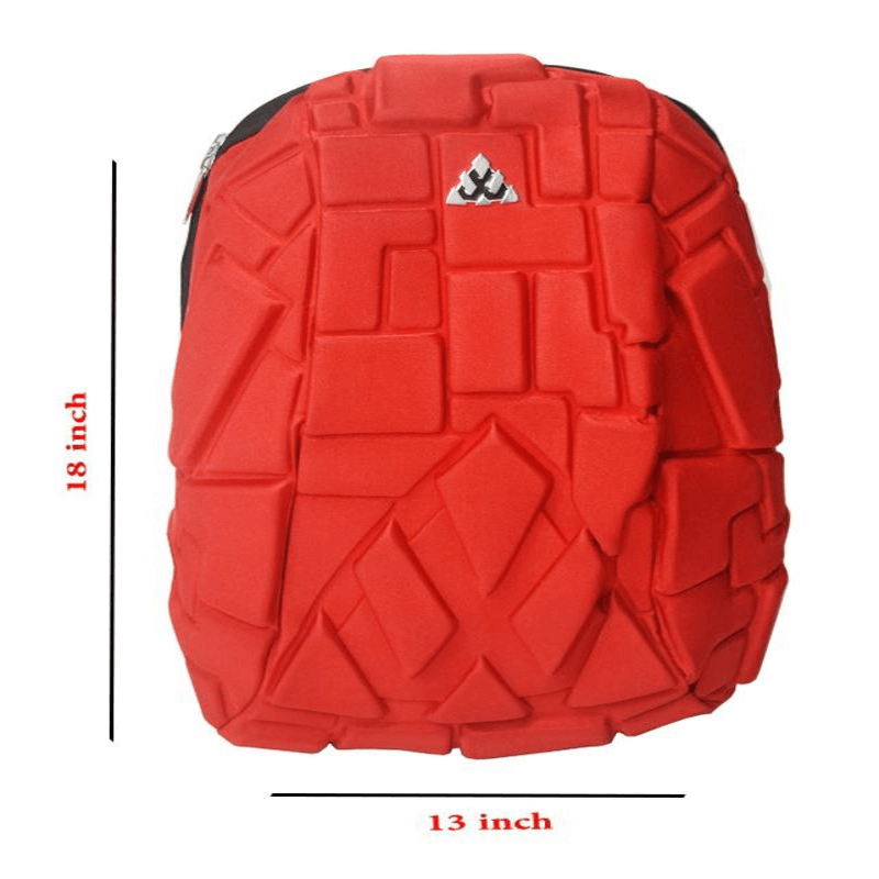 Hard Shell Backpack Inbuilt Aux Cable Headphone Jack_ Red