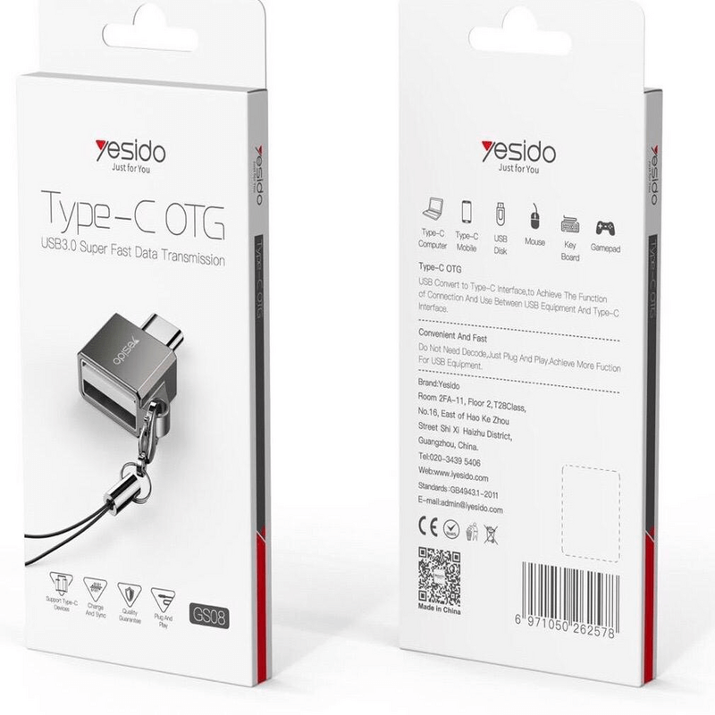 Yesido OTG Adapter Type-C Android Two-in-One USB (GS08)