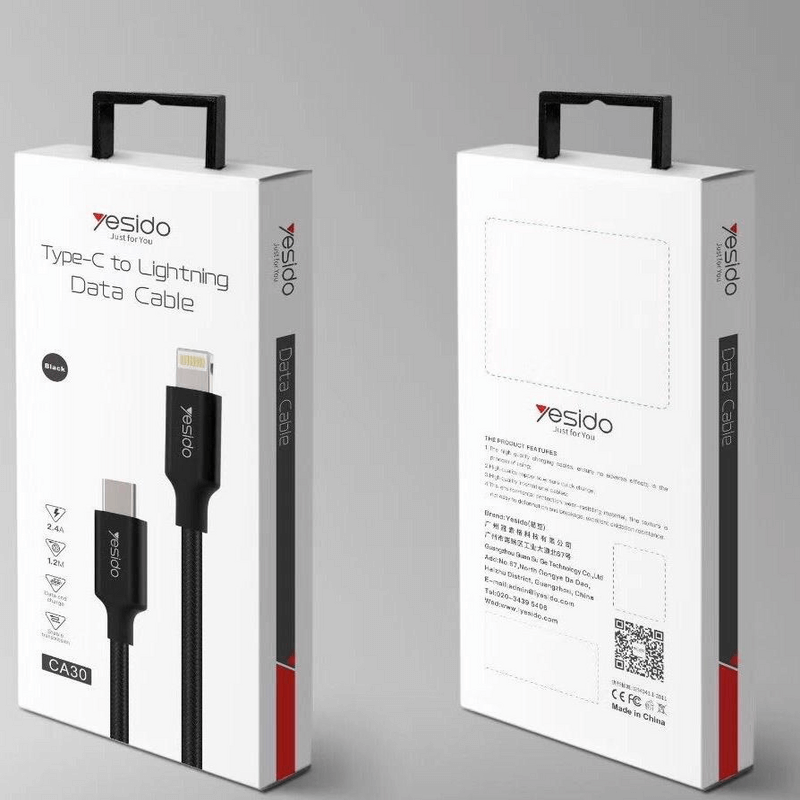 black-A-yesido-CA30-type-C-lightning-data-cable