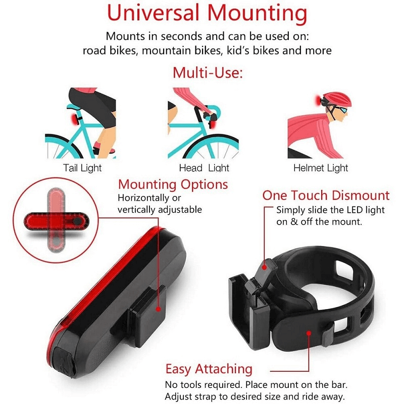 Rechargeable Waterproof Bicycle Waring Rear Tail Light