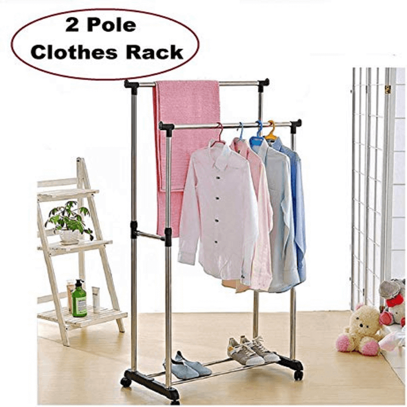 stainless-steel-double-pole-cloth-hanging-rack-with-shoe-stand-l