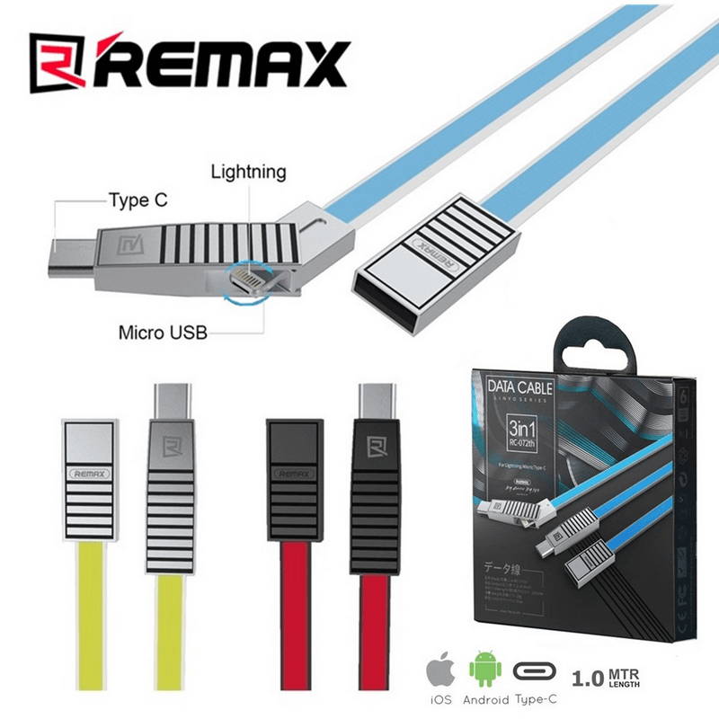 Remax 3 in 1 USB Data and Charger Cable RC-072th USB Charging Cable