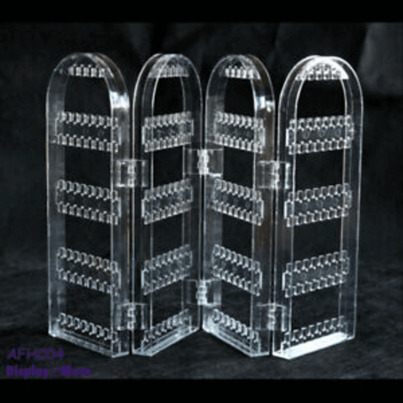 Clear Acrylic Foldable 4 Fold Jewelry Holder Display