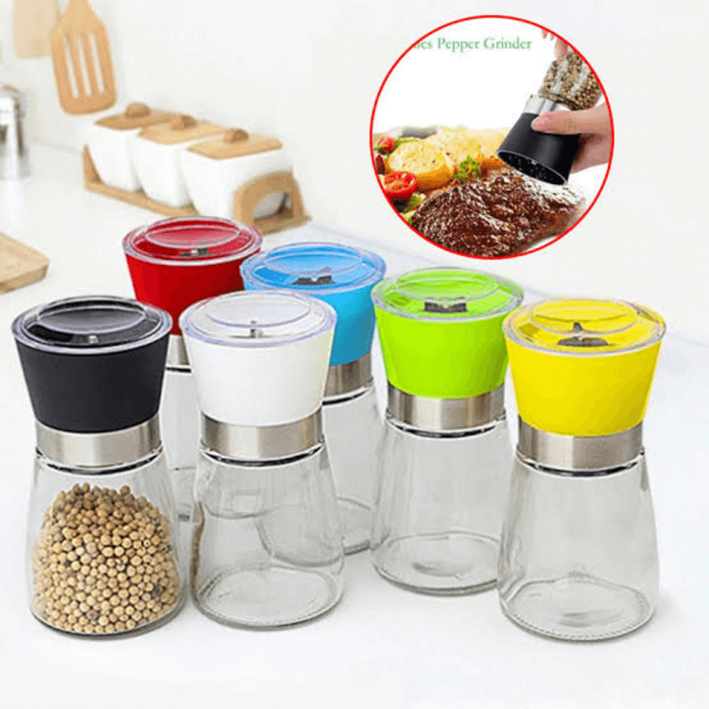 Manual Glass Bottle Pepper Spice Salt Grinder Mill Burnisher