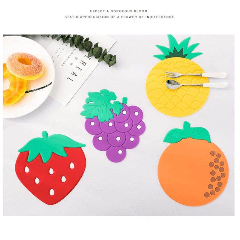 Drink Placement Mat Cute Silicone Fruits Cup Mats